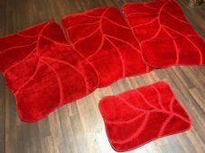ROMANY WASHABLES NEW SUPER THICK RED SETS OF 4 NON SLIP GERMAN DESIGNS 80X120CM